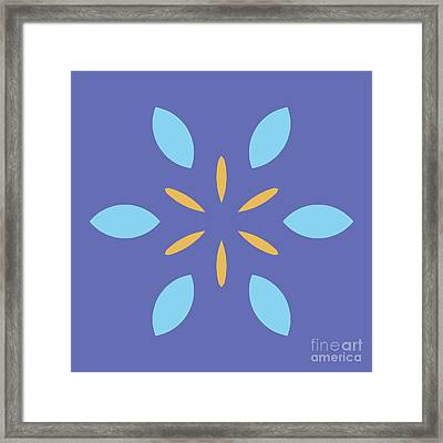Mini Mandala Blue Square Yellow Abstract Flower Framed Print by Pablo Franchi