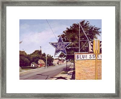 Blue Star Auto Framed Print by William  Brody
