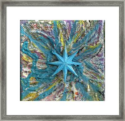 Blue Star Shining At Me Framed Print by Anne-Elizabeth Whiteway