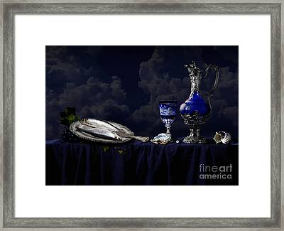 Still Life In Blue Framed Print