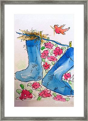 Framed Print featuring the painting Blue Stockings by Claire Bull