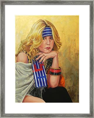 Blue Striped Bandana Framed Print by Jack Knight