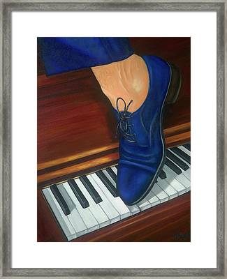 Framed Print featuring the painting Blue Suede Shoes by Marlyn Boyd