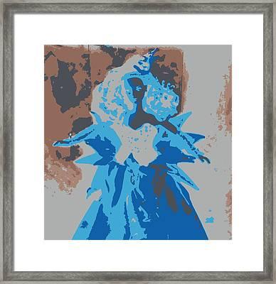 Blue Sunflower Barbie Framed Print