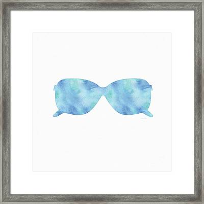 Blue Sunglasses 2- Art By Linda Woods Framed Print by Linda Woods