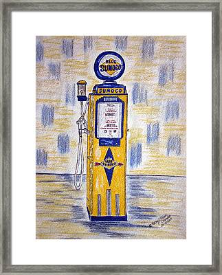 Framed Print featuring the painting Blue Sunoco Gas Pump by Kathy Marrs Chandler