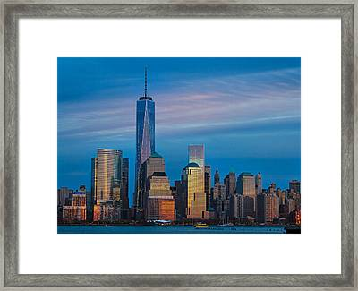 Blue Sunset At The World Trade Center Framed Print