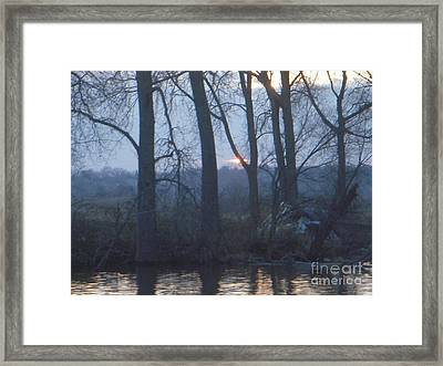 Blue Sunset On Fox River Framed Print by Deborah Finley