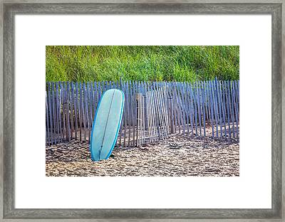 Blue Surfboard At Montauk Framed Print by Art Block Collections