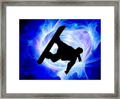 Blue Swirl Snowstorm Framed Print