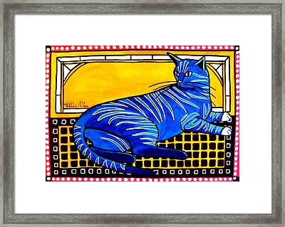 Framed Print featuring the painting Blue Tabby - Cat Art By Dora Hathazi Mendes by Dora Hathazi Mendes