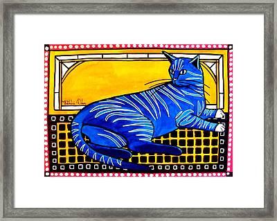 Blue Tabby - Cat Art By Dora Hathazi Mendes Framed Print by Dora Hathazi Mendes