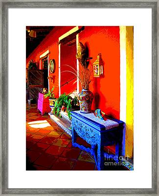 Blue Table By Darian Day Framed Print