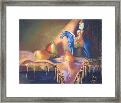Blue Tang And Pears Framed Print by Britta Herzog