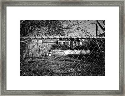 Blue Tarp And An Empty Pool Framed Print