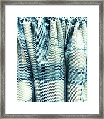 Blue Tartan Fabric Framed Print by Tom Gowanlock
