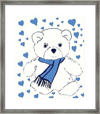 Blue Teddy Bear Love Framed Print by Sonya Chalmers
