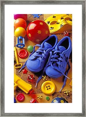 Blue Tennis Shoes Framed Print