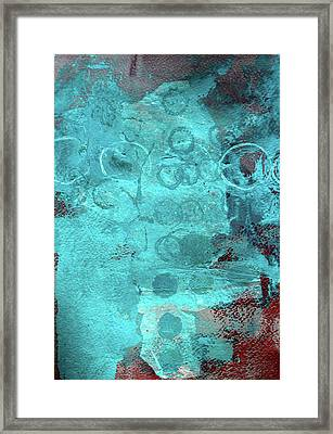 Framed Print featuring the painting Blue Textures by Nancy Merkle