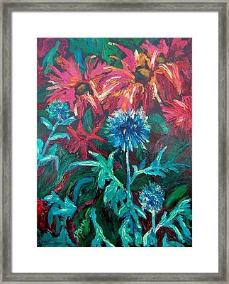 Blue Thistle And Bee Balm Framed Print by Susan  Spohn