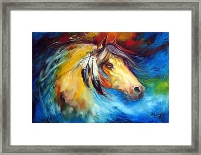 Blue Thunder War Pony Framed Print by Marcia Baldwin