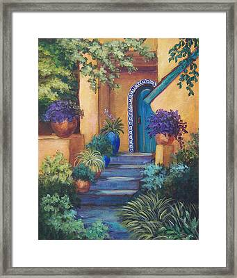 Blue Tile Steps Framed Print