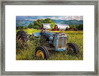 Blue Tractor At The Twin Barns Framed Print