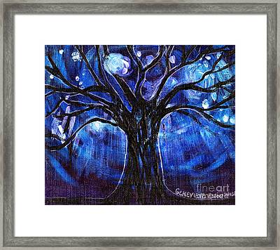 Blue Tree At Night Framed Print