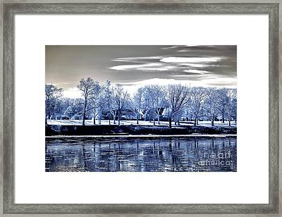 Blue Trees Across The Delaware Framed Print