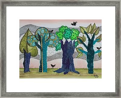 Blue Trees Framed Print