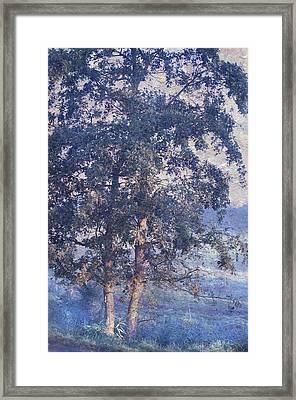 Blue Trees. Monet Style Framed Print by Jenny Rainbow