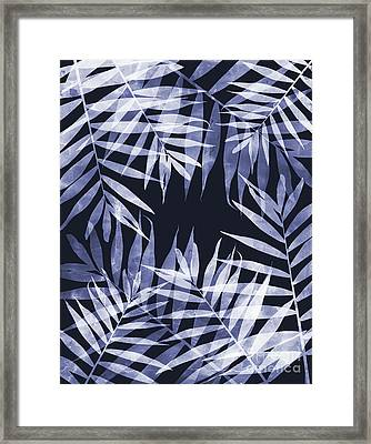 Blue Tropical Leaves Framed Print