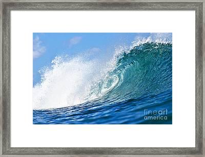 Blue Tube Wave Framed Print by Paul Topp