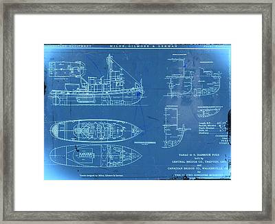 Blue Tugboat Blueprints Framed Print