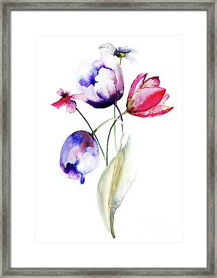 Blue Tulips Flowers With Wild Flowers Framed Print