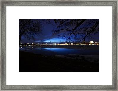 Blue Twilight Over The Charles River Framed Print