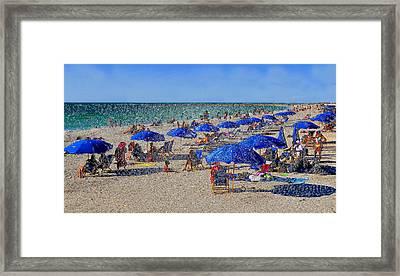 Blue Umbrella  Beach Framed Print by David Lee Thompson