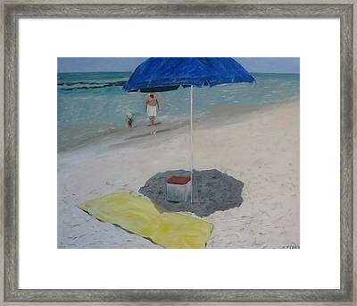 Blue Umbrella Framed Print by John Terry