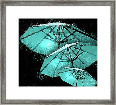 Blue Umbrella Splash Framed Print