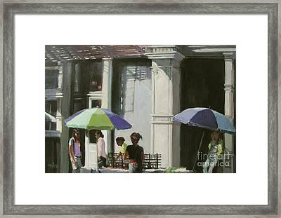 Blue Umbrellas Framed Print by Patti Mollica