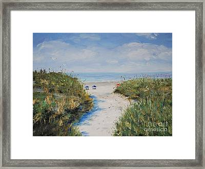 Blue Umbrellas Framed Print