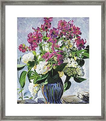 Blue Vase Arrangement Framed Print by David Lloyd Glover