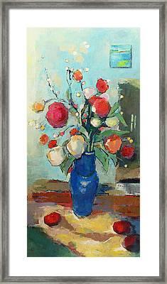 Blue Vase Framed Print by Becky Kim