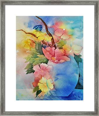Blue Vase Bouquet Framed Print by Sandy Fisher