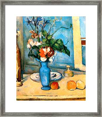 Blue Vase By Paul Cezanne Framed Print by Pg Reproductions