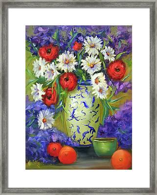Blue Vase Flowers Framed Print