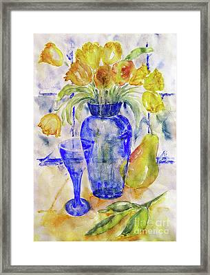 Framed Print featuring the painting Blue Vase by Jasna Dragun