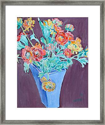 Blue Vase With Flowers Framed Print by Vitali Komarov