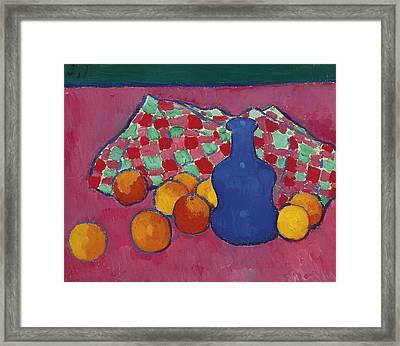 Blue Vase With Orange Framed Print by Alexej von Jawlensky
