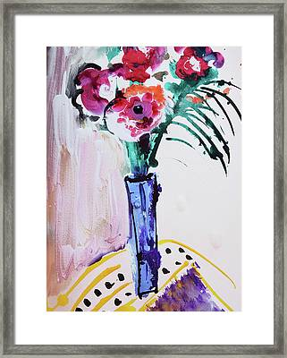 Blue Vase With Red Wild Flowers Framed Print